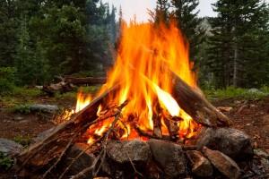 Campfire at Wilderness Campsite